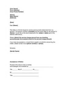 Bank Statement Request Letter For Saving Account Request For Bank Statement Template