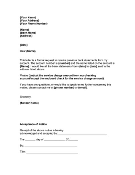 Bank Statement Request Letter Format request for bank statement template