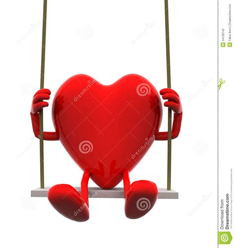 swing the heartache heart with arms and legs on a swing stock photography