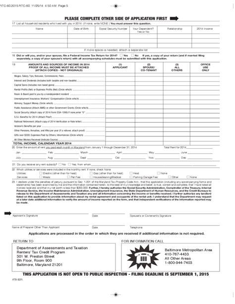 Tax Credit Application Form Renters Tax Credit And Application Form Maryland Free