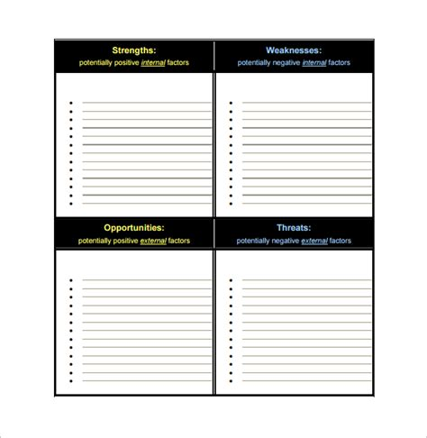 swot analysis template doc free swot analysis template word pdf calendar template