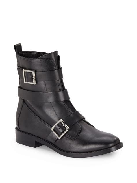 black leather moto boots ivanka coris leather moto boots in black lyst