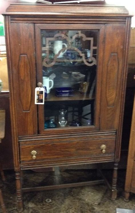 Antique Hutch With Glass Doors by Antique Solid Wood China Hutch W Glass Door Beautiful Ebay