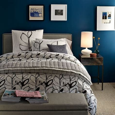 Grey Bedroom With Navy Accents Blue And Turquoise Accents In Bedroom Designs 39 Stylish