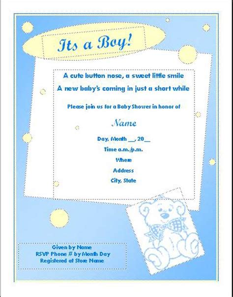 baby shower invitations with photo template free baby shower templates new calendar template site