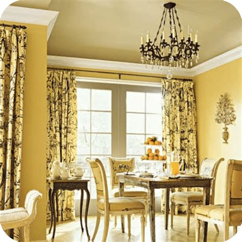 yellow dining room decorating with yellow and gray