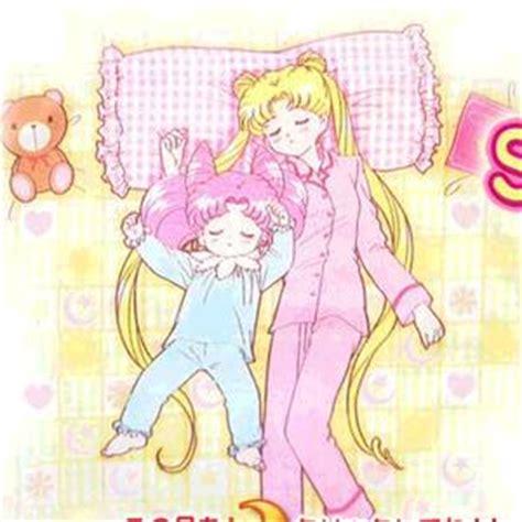 Kaos Bunny Sleep On Moon chibiusa and usagi sleeping chibiusa and usagi asleep