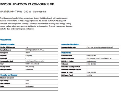 Lu Sorot Hpi T 250 Watt Philips philips rvp350 hpi t250w ic 220v 50hz s sp distributor