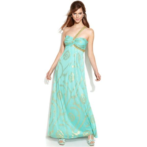 one shoulder beaded gown betsy adam one shoulder beaded printed gown in green