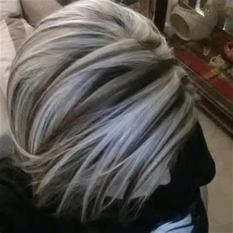 platinum highlights for graying brunette hair chunky platinum highlights yelp