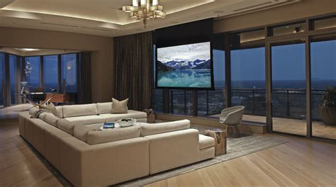 home theater living room this atlanta penthouse is part living room part home