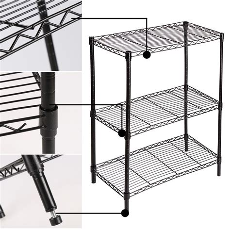 adjustable wire shelving 3 tier steel wire shelving rack storage black adjustable shelf garage organizer ebay