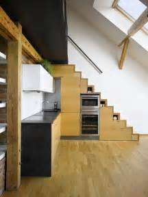 Stairs In The Kitchen by Small Attic Loft Apartment In Prague Idesignarch