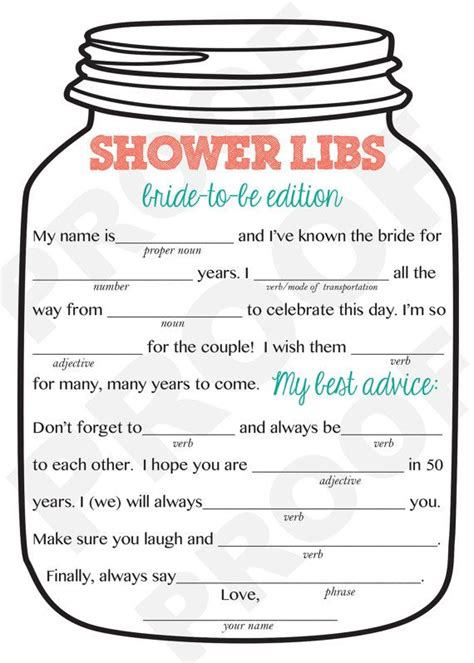 wedding libs template bridal shower jar theme shower mad libs