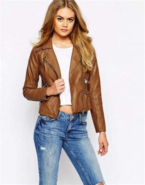 chaqueta de cuero marron chaquetas de cuero mujer marron