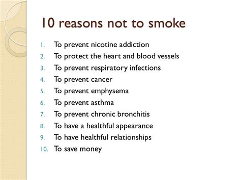 10 reasons to not tobacco 6th health 4th quarter ppt
