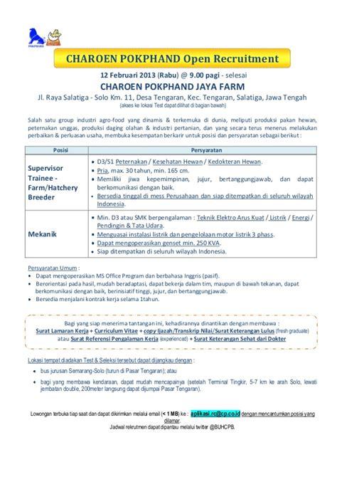 charoen pokphand open recruitment  salatiga  feb