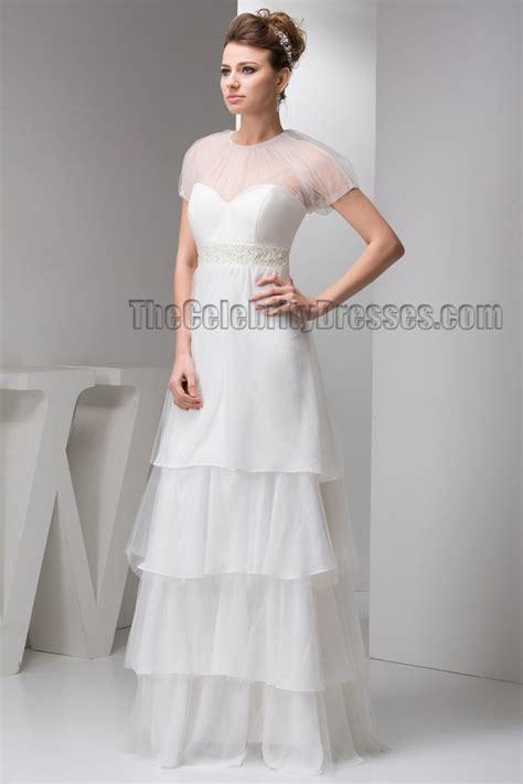 floor length a line beaded bridal gown wedding dresses
