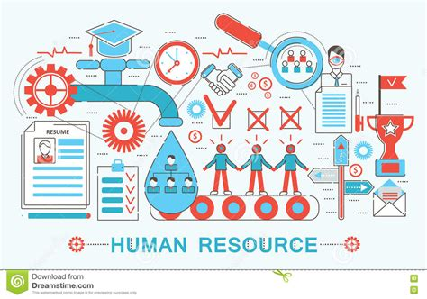 poster design resources modern flat thin line design human resource concept stock