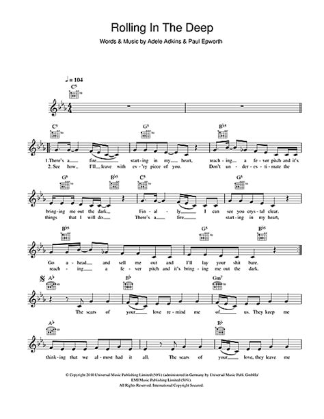 printable lyrics rolling in the deep rolling in the deep chords by adele melody line lyrics