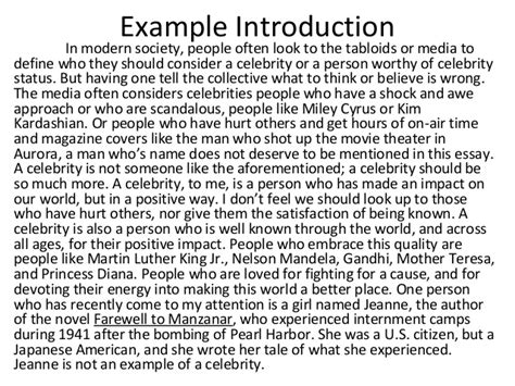 Exle Of Introduction Essay by Essay Introduction Exles Quotes