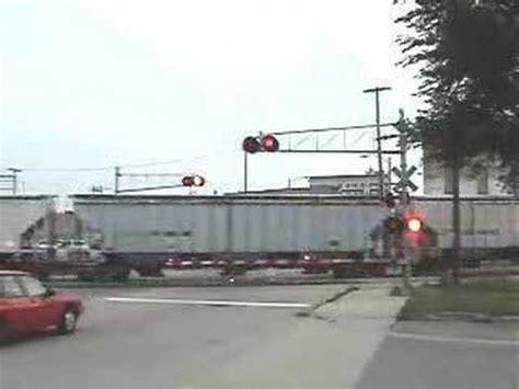 cn train at railroad crossing youtube