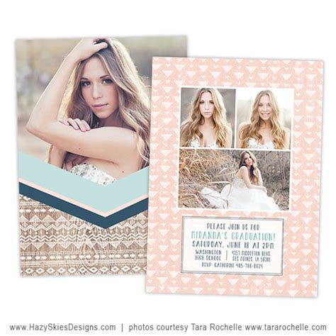 senior announcement templates for photographers graduation card template boho chic