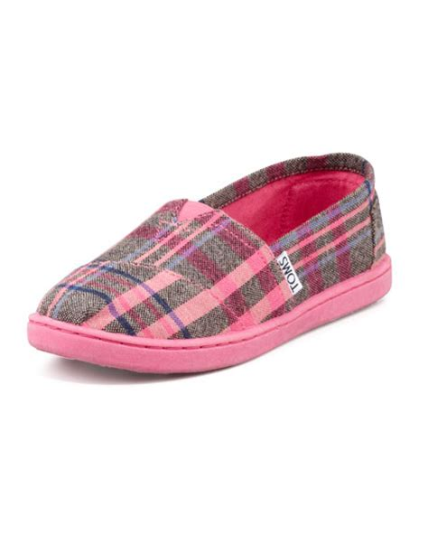 toms youth plaid slip on shoe pink