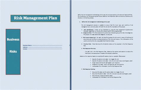 management plan template risk management plan template word templates