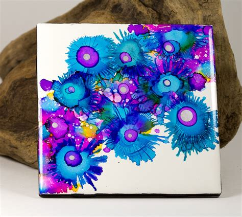 painting on ceramic tile craft ceramic tile original alcohol ink painting coaster bright