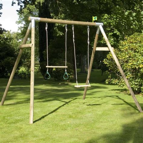 double swing sets tp knightswood double wooden swing set with wooden trapeze