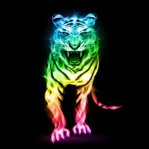 Kaos 3d Tiger Neon animals lessons tes teach