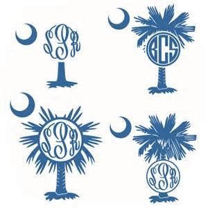 Palmetto Flowers - palm tree svg monogram cuttable frames