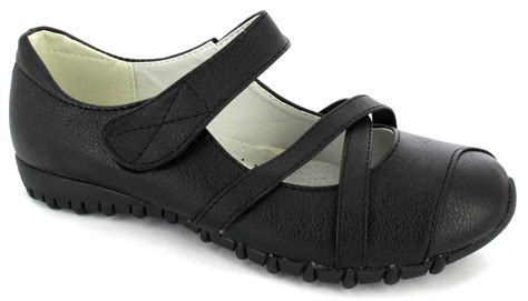 ladies black comfortable work shoes ladies flat black velcro straps comfort caual work womens