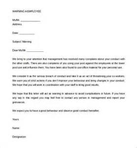 33 hr warning letters free sle exle format