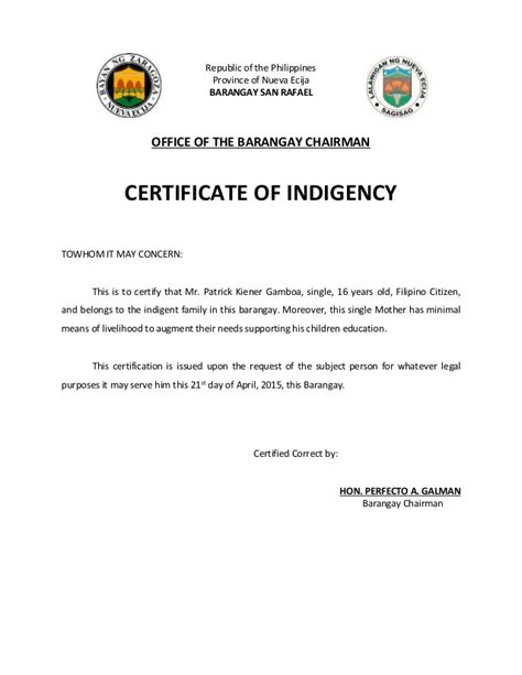 Certification Letter Philippines republic of the philippines