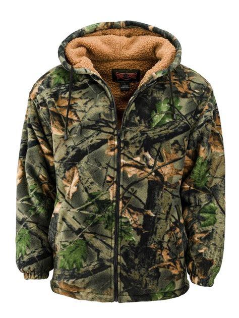 Camouflage Zip Coat s sherpa lined camo fleece jacket zip