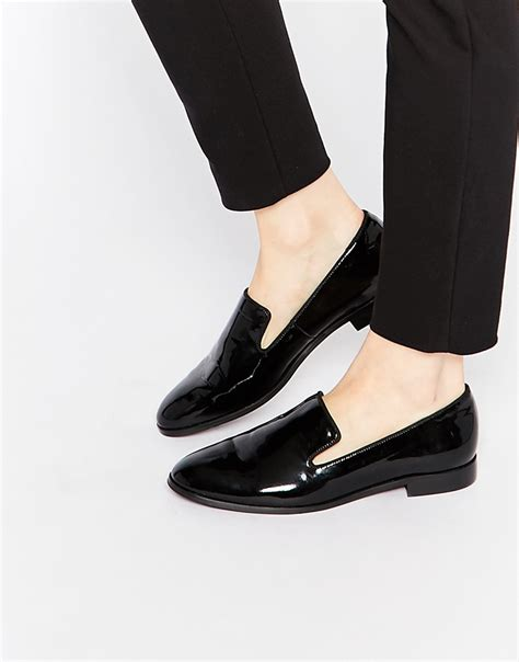 patent loafer shoes lyst dune gray black patent pointed flat loafer shoes in