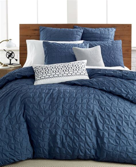twin comforter blue bar iii bedding box pleat 100 cotton twin twin xl