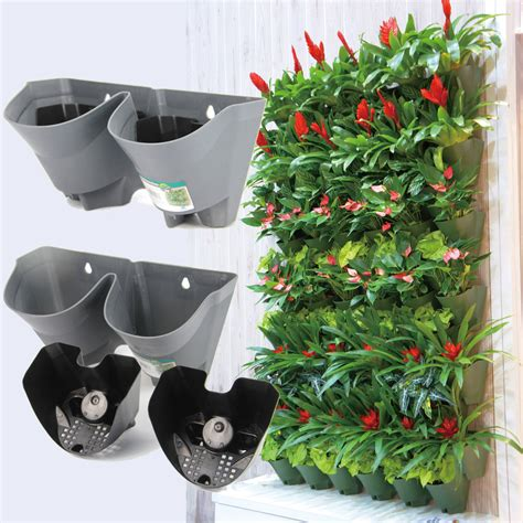 stackable 2 pockets vertical wall planter self watering hanging worth self watering vertical wall planter flowerpot