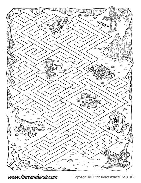 printable science maze space maze for kids black white tim s printables