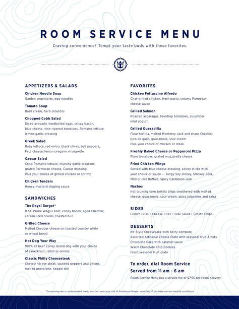 t room menu royal caribbean s new upgraded room service menu