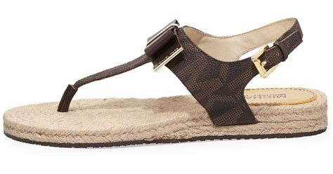 michael kors meg sandals michael michael kors meg bow sandals in brown lyst