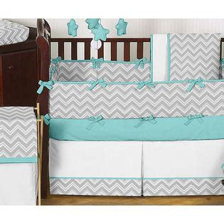 Sweet Jojo Designs Gray And Turquoise Zig Zag Collection Turquoise Crib Bedding Set