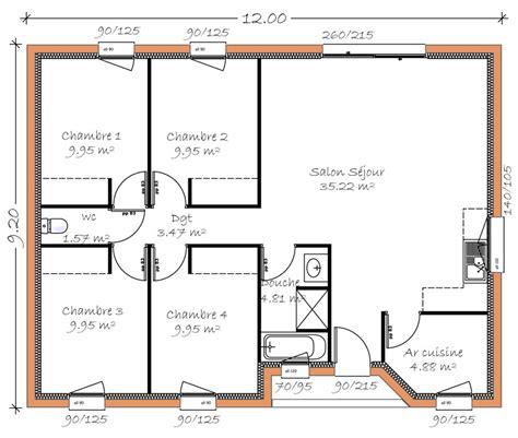 Plan Maison Plain Pied 4 Chambres 4053 by Mod 232 Les De Maisons En Projet En Loire Atlantique 44