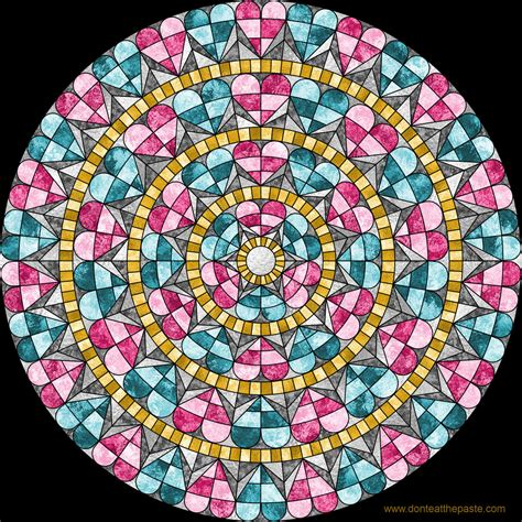 Don't Eat the Paste: Heart Window mandala to color