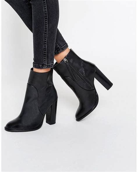 asos leather sock boots black in black lyst