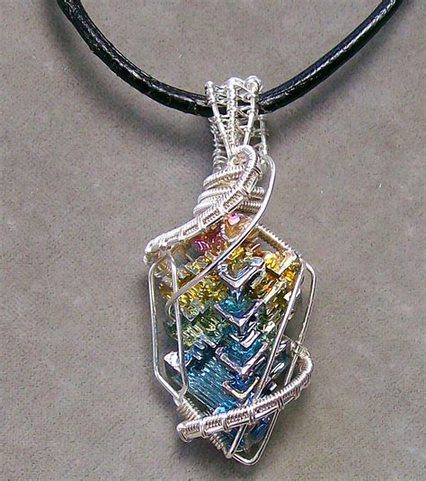 crystals for jewelry bismuth and silver pendant by