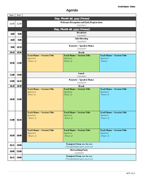 conference agenda template sample format