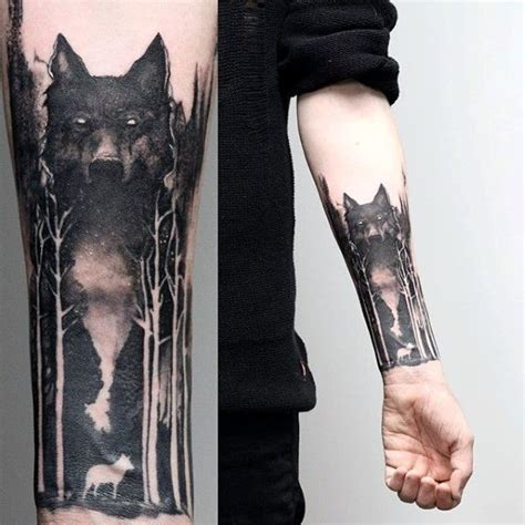 collection of 25 watercolor moon and wolf tattoos on arm